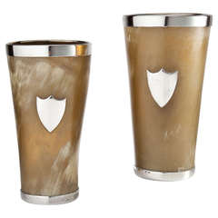 Very Large and Impressive Pair of Horn and Silver Beakers, English circa 1890