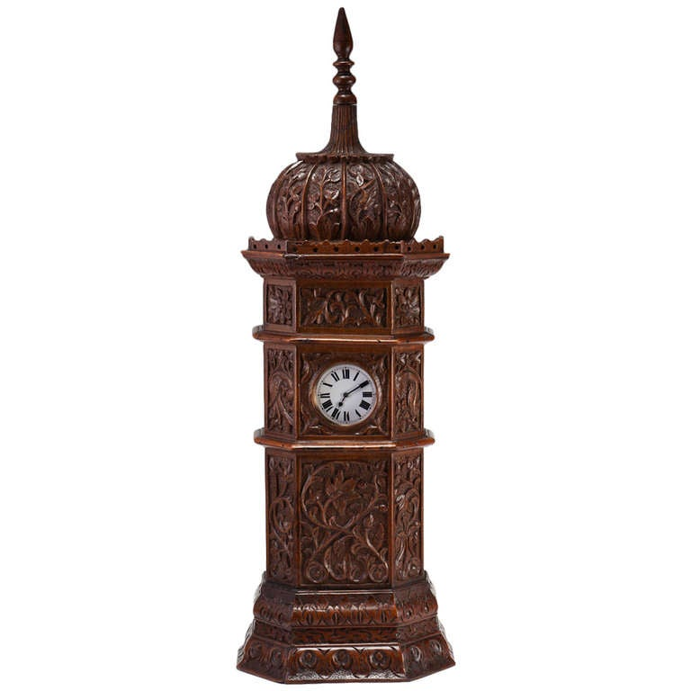 Large Indian Carved Tower Watch Holder, Shimla, 1895