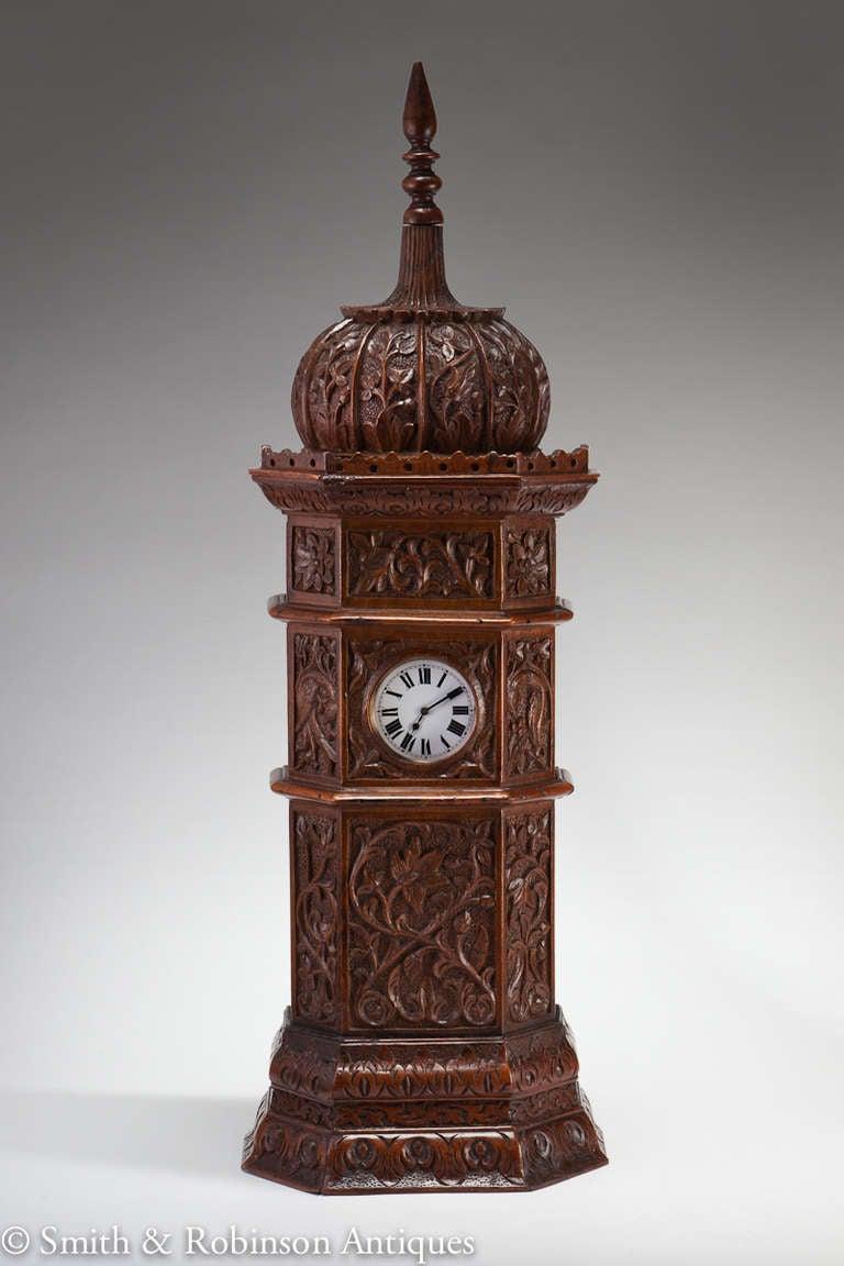 Large Indian Carved Tower Watch Holder, Shimla, 1895 2