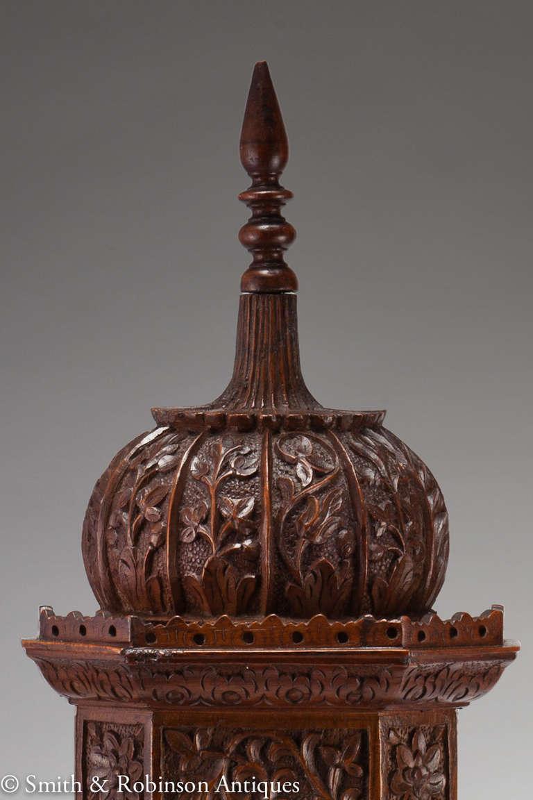 Large Indian Carved Tower Watch Holder, Shimla, 1895 4