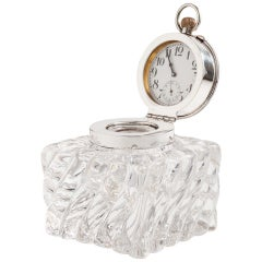 Beautiful Quality Heavy Glass and Silver Clock Inkwell, Birmingham, circa 1904