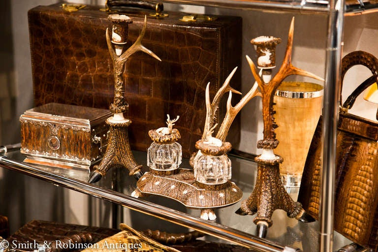 Austrian Rare and Impressive Roe Deer Horn Desk Set with Candlesticks, circa 1870-1880 For Sale