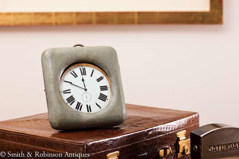 Large Shagreen Encased Goliath Clock 6