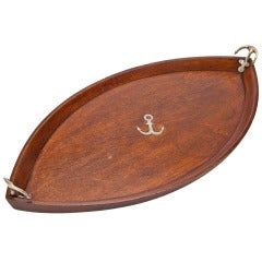 Large Oak Nautically Themed Boat Shaped Tray, circa 1880