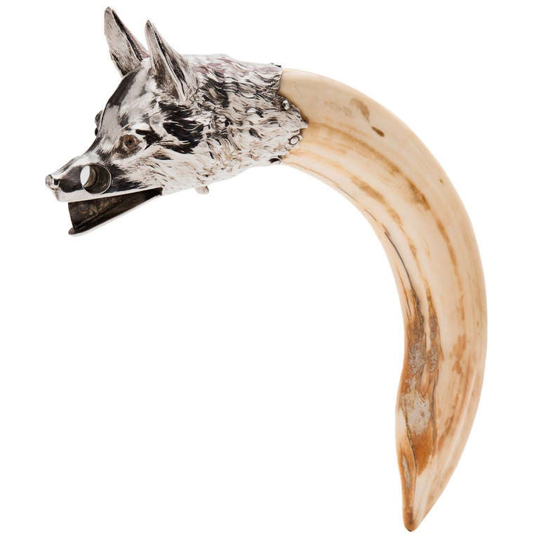 An Impressive Silver Foxes Head & Hippo Tooth Cigar Cutter c.1910 1