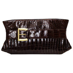 Very Large Alligator Art Deco Clutch Bag Designed by Rosenfeld, circa 1938-1940
