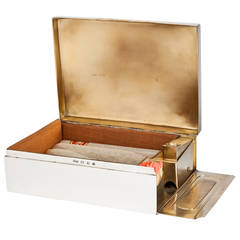 Novelty English Silver Cigar Box with Match Safe and Striker Dated 1899