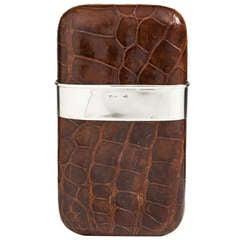 Impressive Rich Brown Crocodile & Silver Cigar Case c.1935