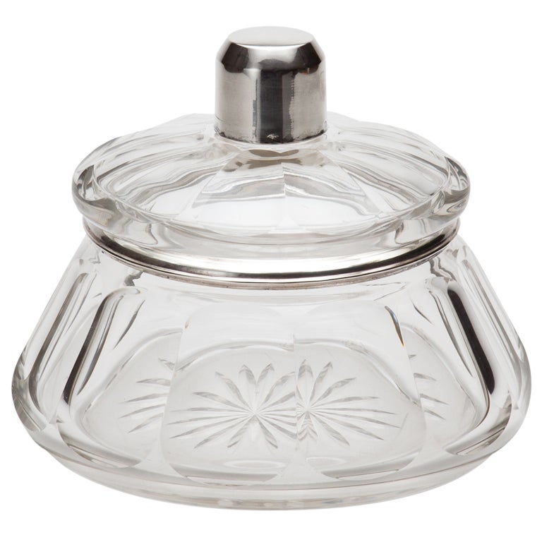 French Art Deco Glass and Silver Bowl at 1stdibs
