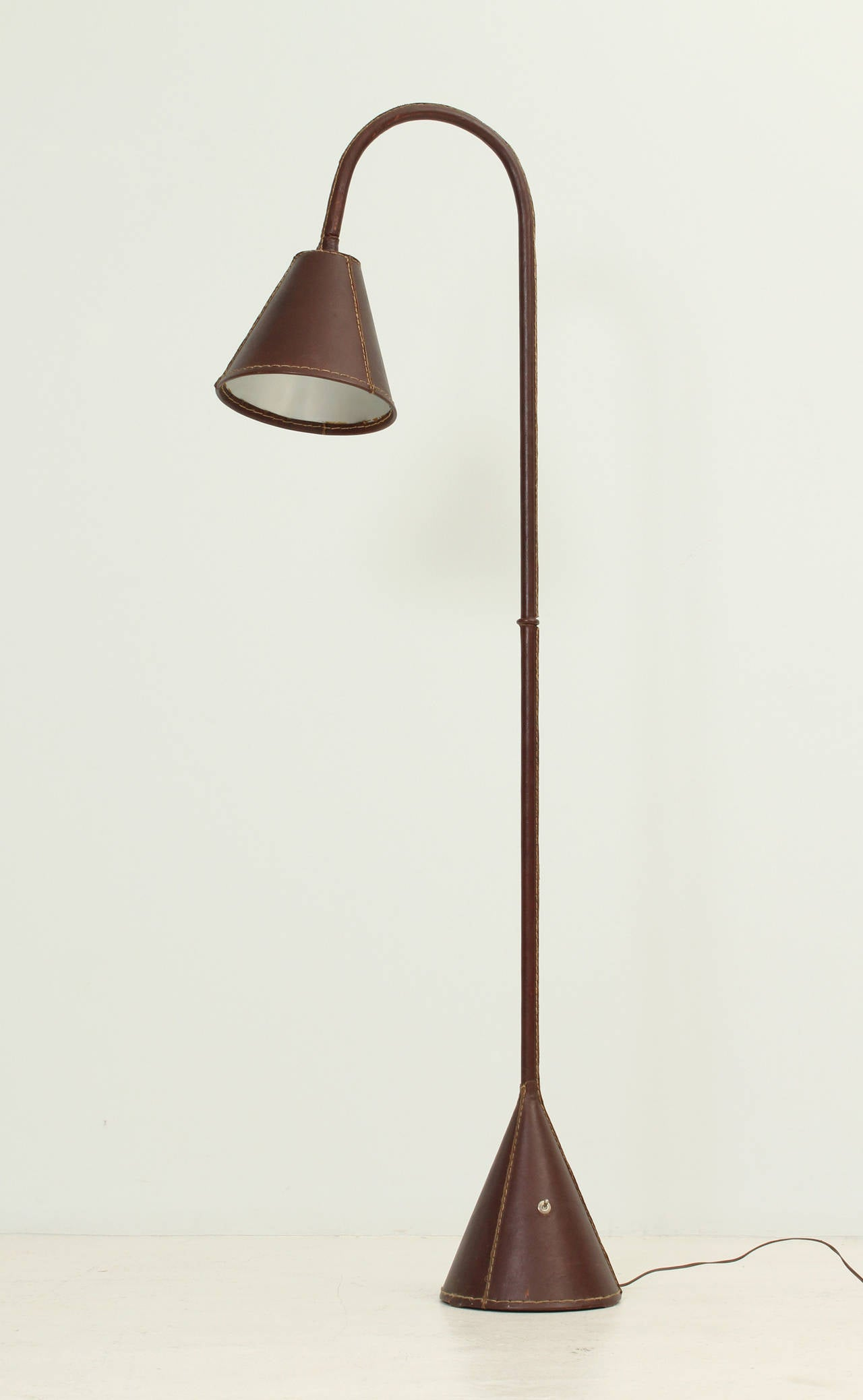 Brown Leather Adnet Floor Lamp at 1stdibs