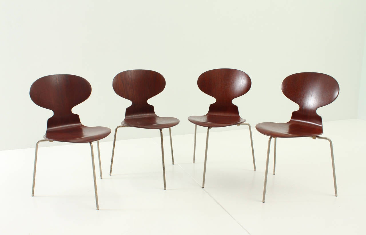 set of four early ant chairs by arne jacobsen for sale at. Black Bedroom Furniture Sets. Home Design Ideas
