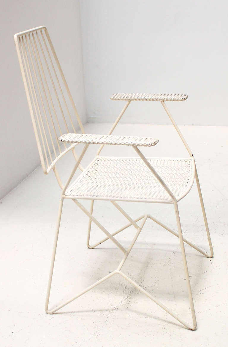 Vintage mid century modern metal folding wire mesh patio chairs - Set Of Four 1950 S Outdoor Chairs At 1stdibs