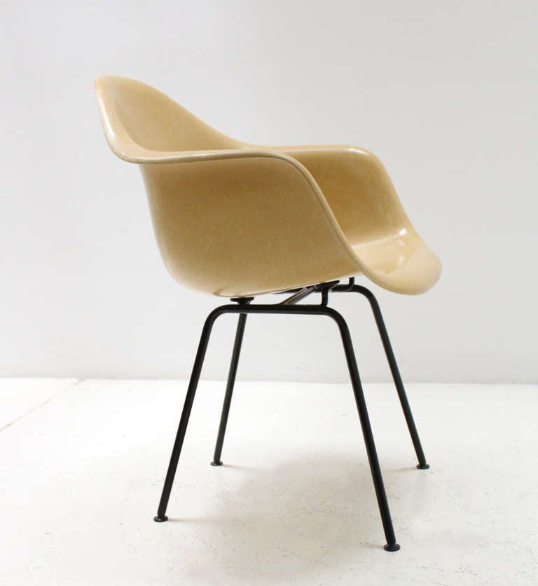 Original mustard fiberglass armchair by eames for sale at for Chaise charles eames fibre de verre