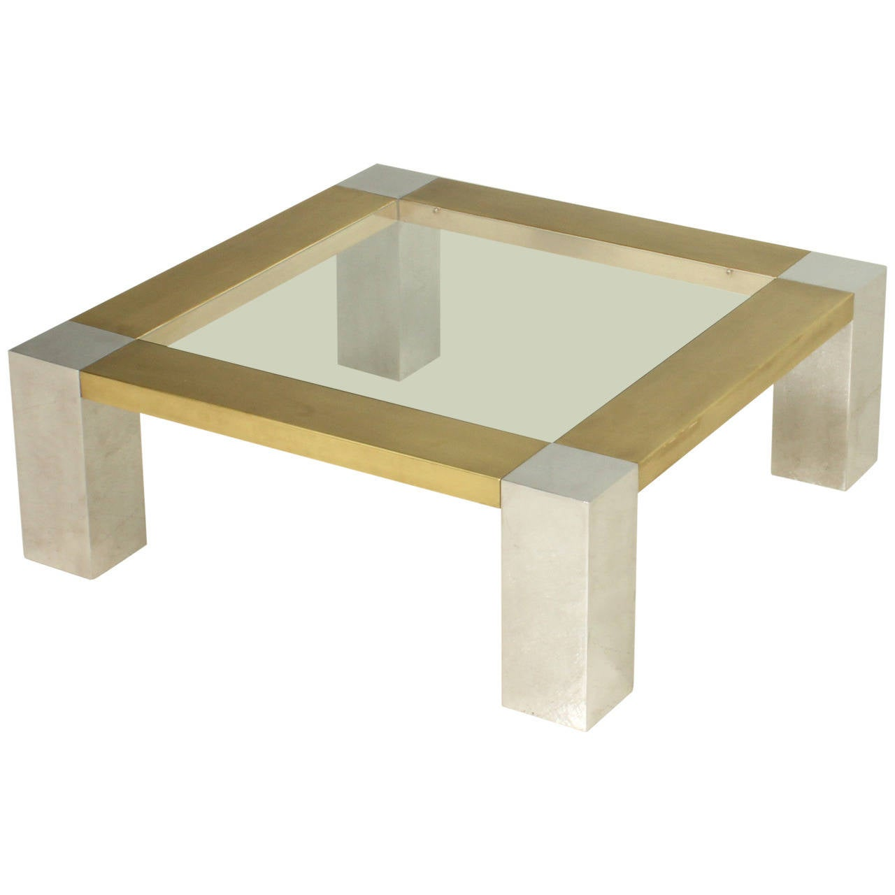 Italian Coffee Table In Chrome And Brass At 1stdibs
