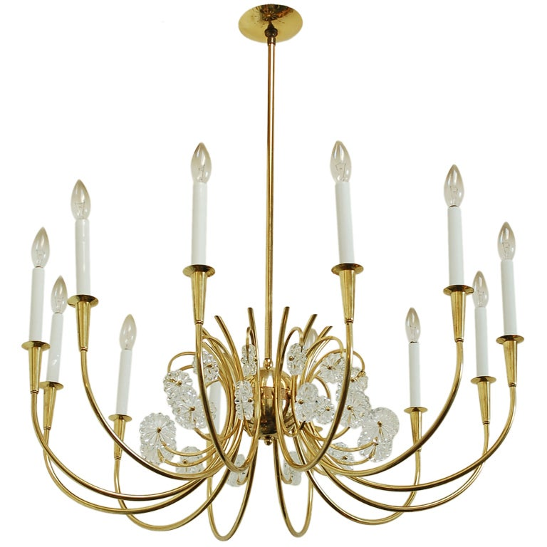 Brass and Crystal Hollywood Regency Chandelier at 1stdibs:Brass and Crystal Hollywood Regency Chandelier 1,Lighting