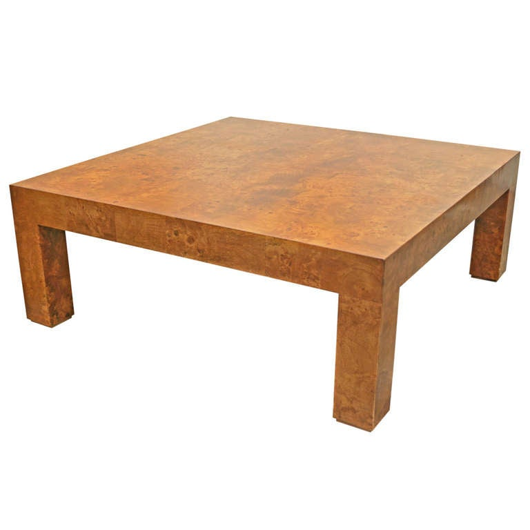 Milo Baughman Burl Wood Coffee Table At 1stdibs