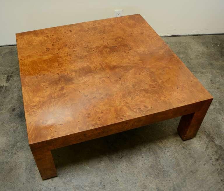 milo baughman burl wood coffee table at 1stdibs. Black Bedroom Furniture Sets. Home Design Ideas