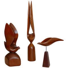 Modernist Carved Redwood Bird Sculptures