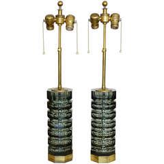 Pair of Moser Cut Glass Lamps