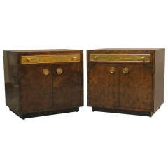 Pair of Mastercraft Nightstands With Acid Etched Brass