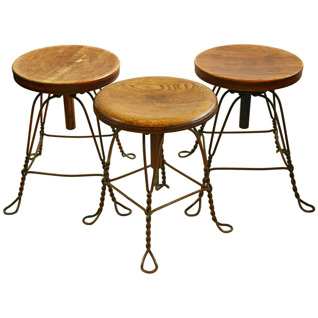 Industrial Twisted Steel Wire Stools At 1stdibs
