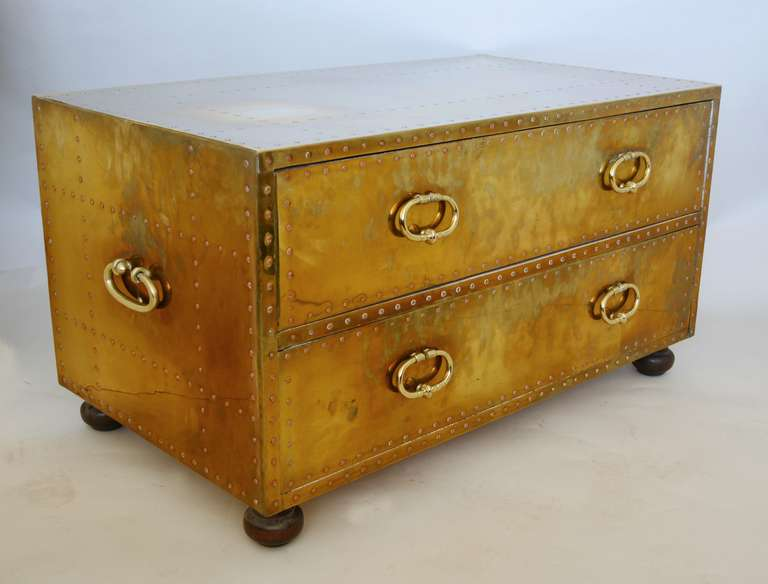 Sarreid Brass Campaign Style Chest at 1stdibs