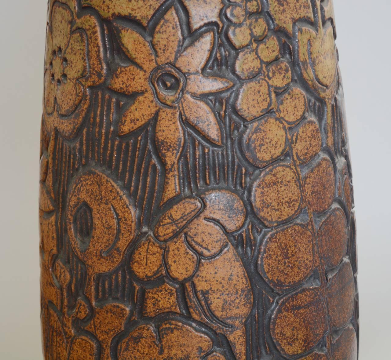 Stoneware Monumental Andrew Bergloff Studio Pottery Floor Vase For Sale