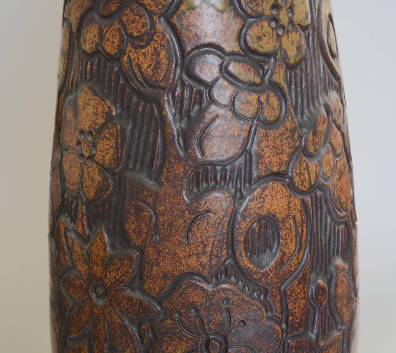 Late 20th Century Monumental Andrew Bergloff Studio Pottery Floor Vase For Sale