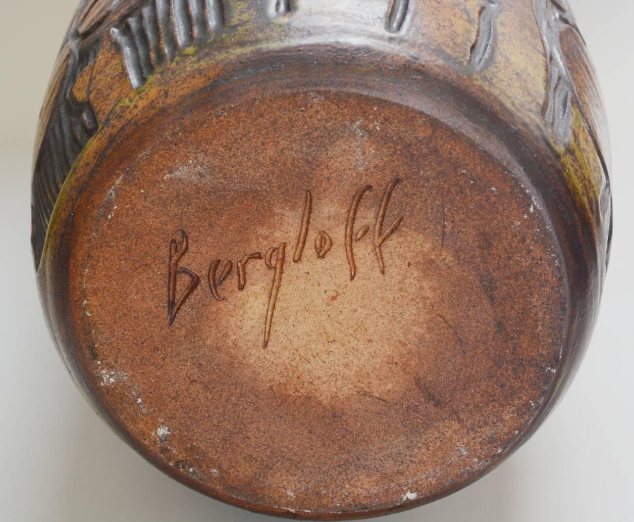 Monumental Andrew Bergloff Studio Pottery Floor Vase For Sale 2
