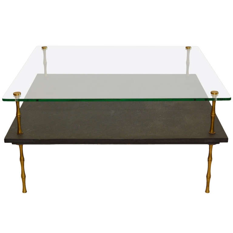 Slate And Glass Coffee Table At 1stdibs