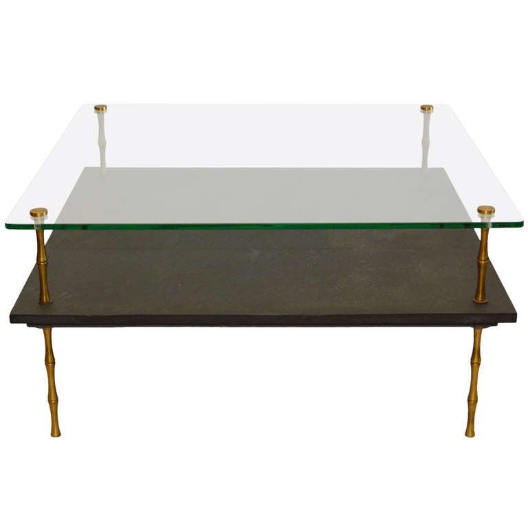 Slate And Glass Coffee Table For Sale: Slate And Glass Coffee Table At 1stdibs