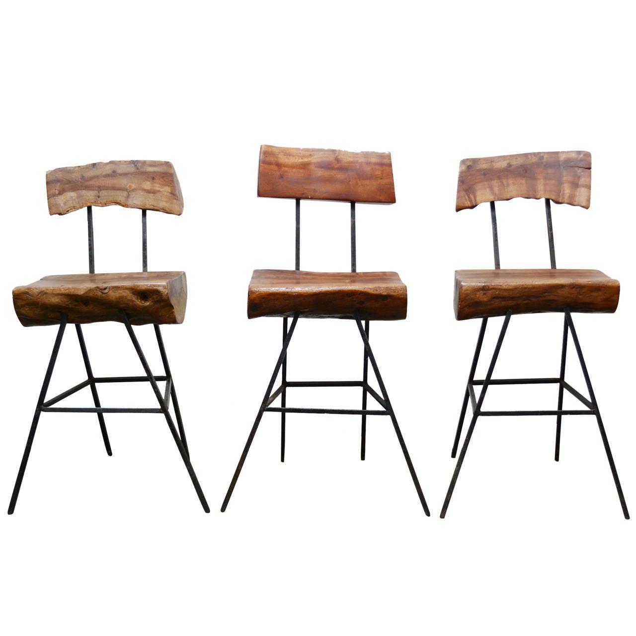 Rustic Modern Iron And Log Bar Stools At 1stdibs