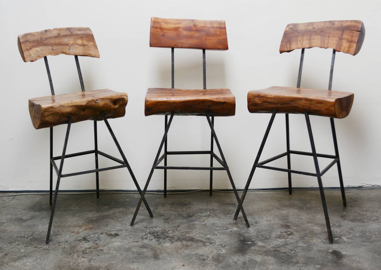Mexican Rustic Modern Iron And Log Bar Stools For