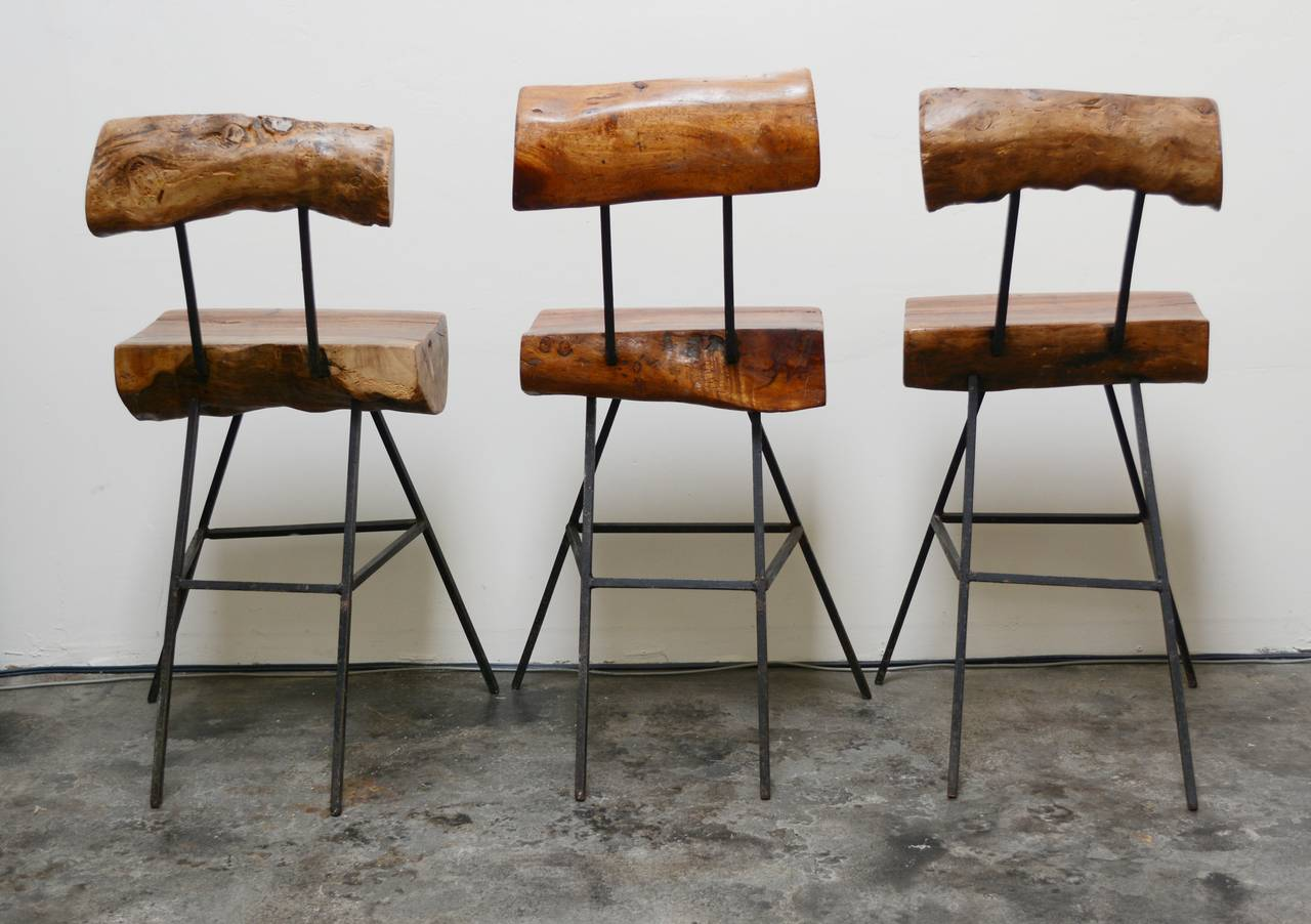 Rustic Modern Iron And Log Bar Stools At 1stdibs