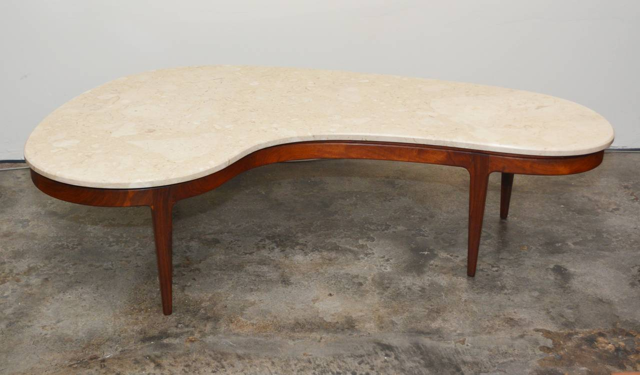 Biomorphic Coffee Table Biomorphic Marble And Walnut Coffee Table At 1stdibs