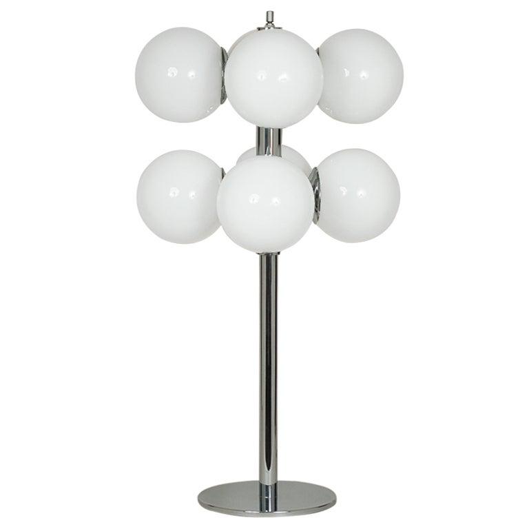 Lightolier Chrome Globe Table Lamp At 1stdibs