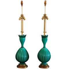 Pair of Marbro Murano Lamps
