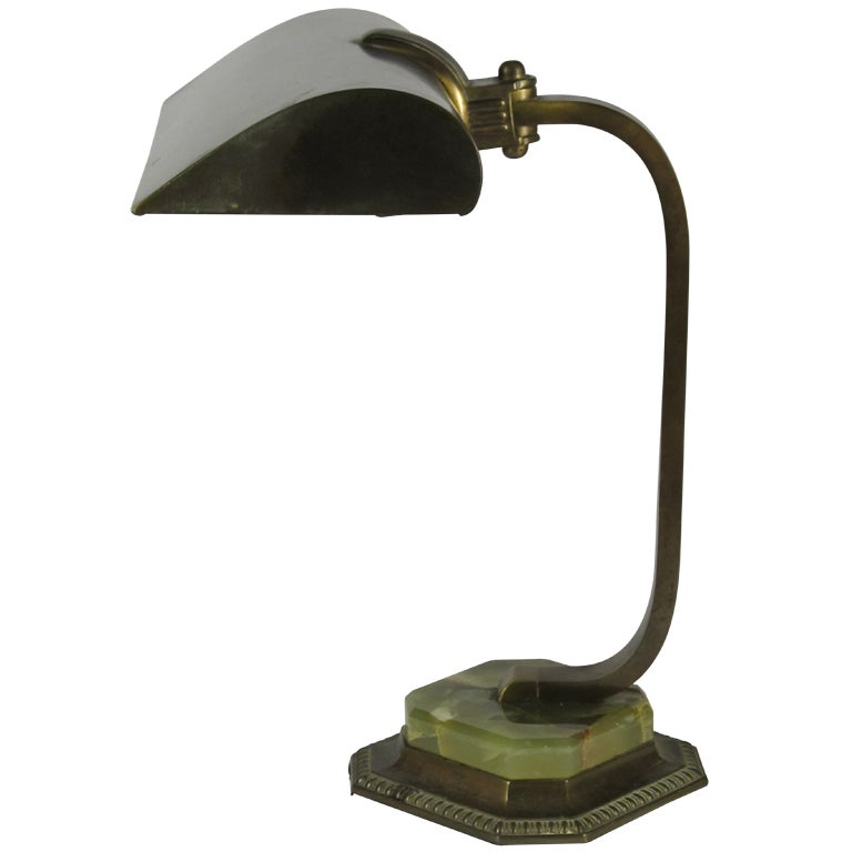 1930s Brass and Green Marble Bankers Desk Lamp at 1stdibs