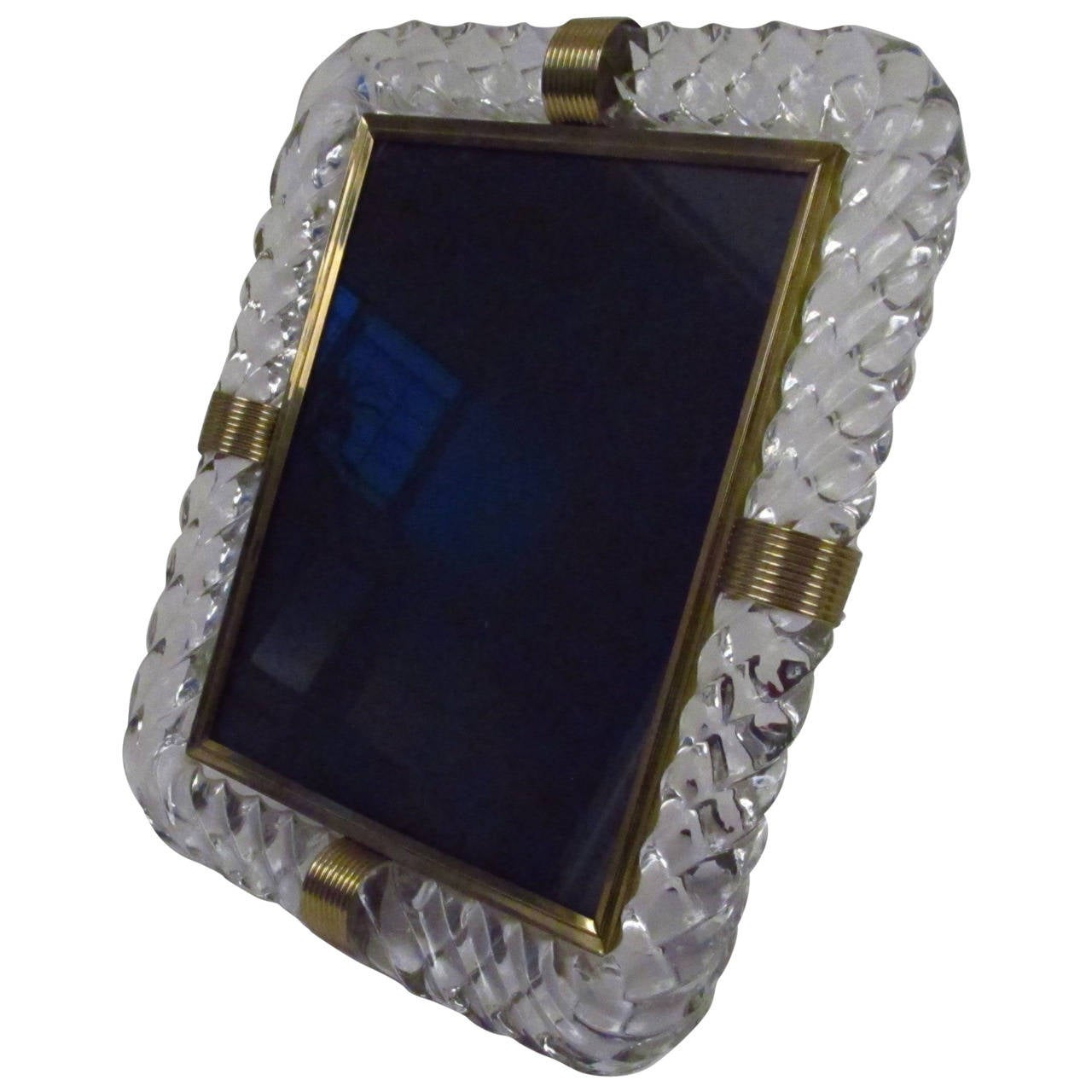 Twisted Rope Glass Picture Frame in the Manner of Venini 1