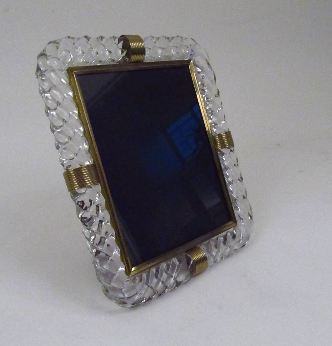 Twisted Rope Glass Picture Frame in the Manner of Venini 2