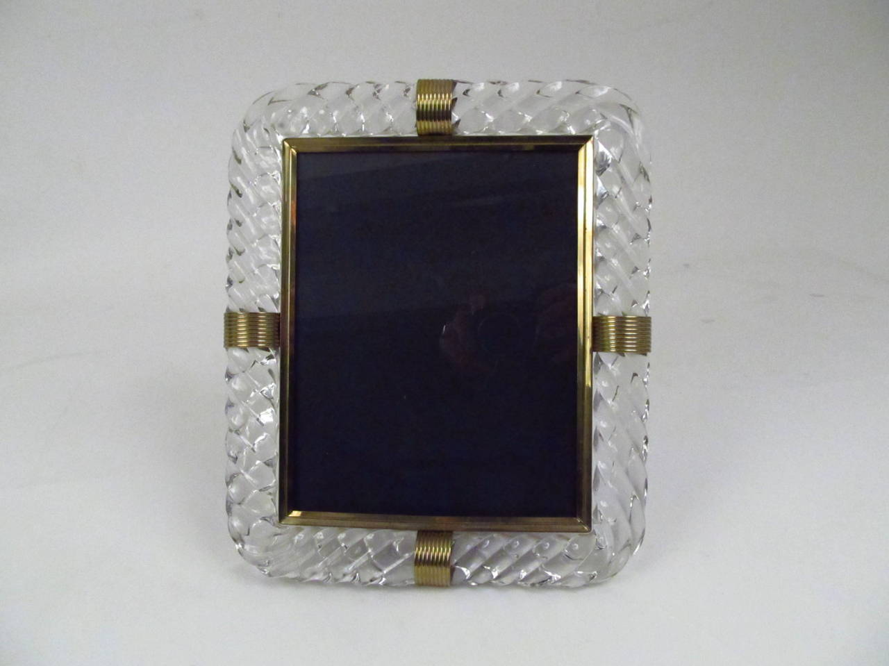 Twisted Rope Glass Picture Frame in the Manner of Venini 3