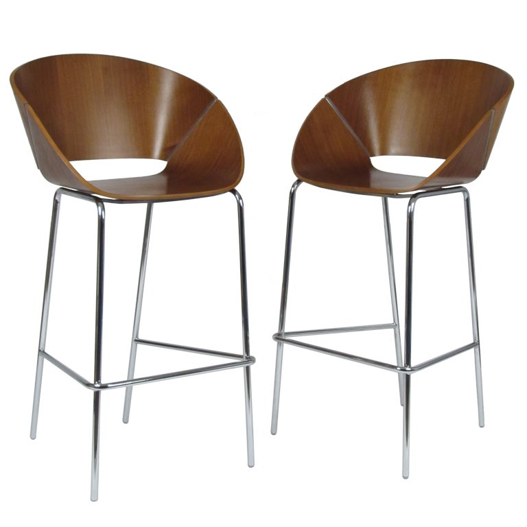 Bent Plywood And Chrome Modernist Bar Stools By Wolfgang