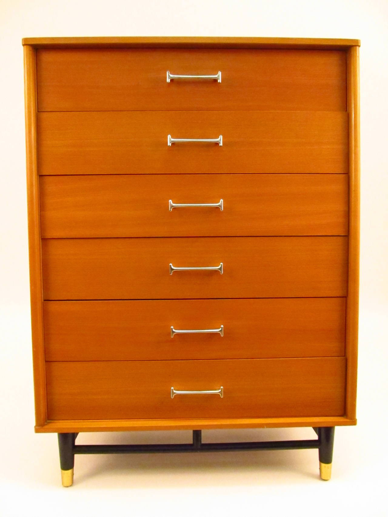 Pair of 1950s drexel blonde wood highboy dressers image 3 for Blonde bedroom furniture