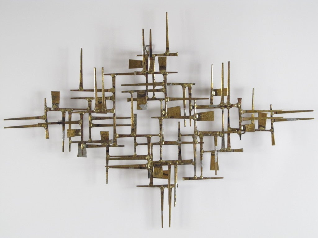 Brutalist Wall Sculpture by William Bowie at 1stdibs