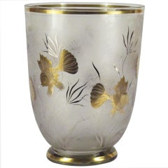 Art Deco Glass Underwater Goldfish Vase