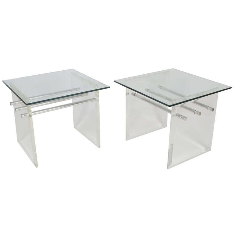 Pair of Lucite Aluminum and Glass End Tables 1