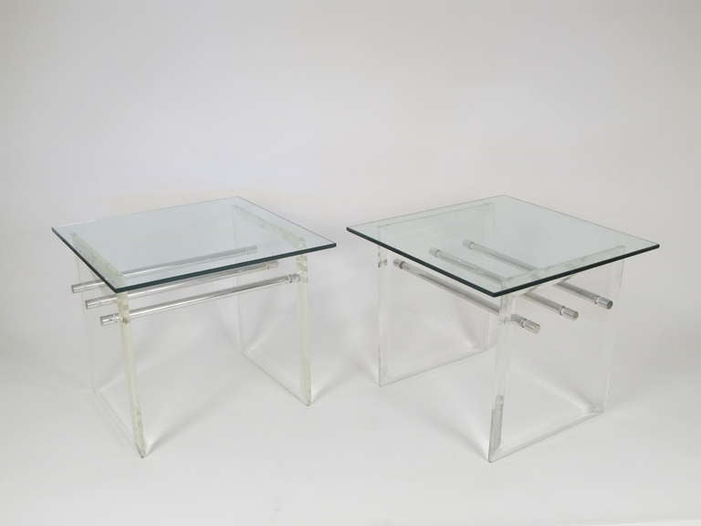 Pair of Lucite Aluminum and Glass End Tables 2
