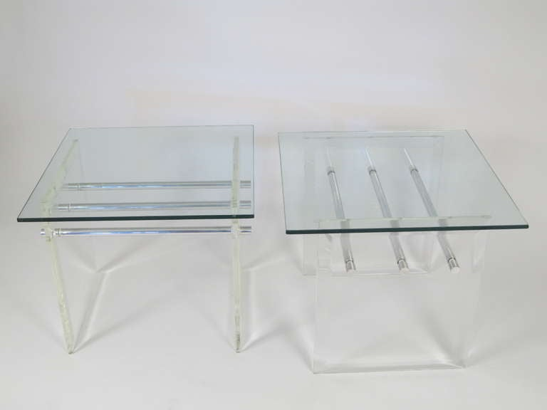Pair of Lucite Aluminum and Glass End Tables 3