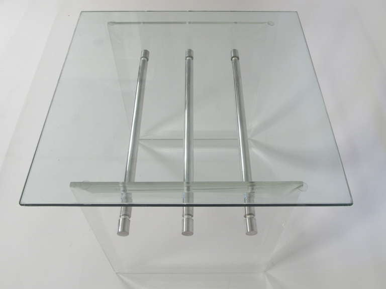 Pair of Lucite Aluminum and Glass End Tables 4