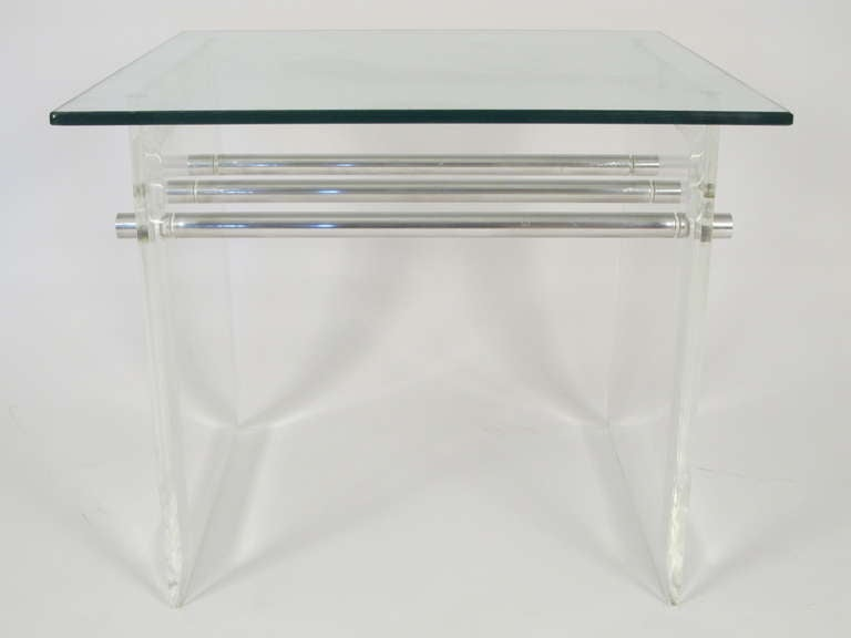 Pair of Lucite Aluminum and Glass End Tables 5